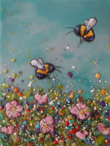 "SOLD ""Just Bee No. 3"" by Brenda Walker 6 x 8 - encaustic $275 (cradled panel)"
