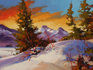"SOLD ""Lac des Arcs (Alberta)"" by Mike Svob 12 x 16 – acrylic $1415 Unframed"