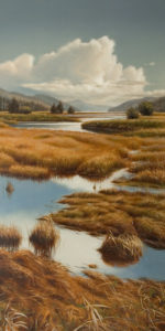 "SOLD ""Lagoon Wetlands"" by Ray Ward 12 x 24 - oil $1775 Unframed"