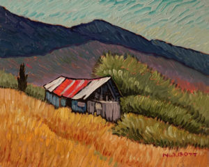 """Lillooet Shelter"" by Nicholas Bott 8 x 10 - oil $1090 Unframed"