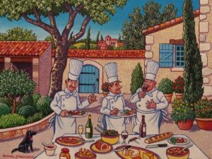 """Lunch Al Fresco in the Courtyard,"" by Michael Stockdale 9 x 12 - acrylic $500 Unframed"