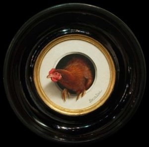 """Mini Poule"" (Mini Chicken) by Marina Dieul 4"" diameter plus frame (shown) - oil USD $900 Framed (approx CAD $1170 Framed)"