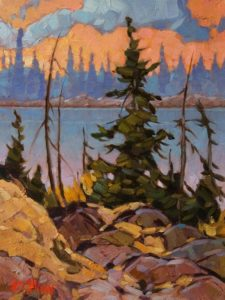 "SOLD ""North Arm Pond"" by Graeme Shaw 9 x 12 - oil $550 Unframed"