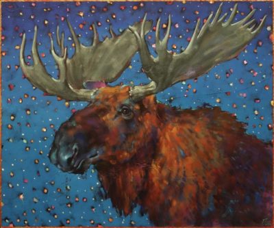 """Once Upon a Midnight Moose"" by Angie Rees 20 x 24 - acrylic $1875 (unframed panel with 1 1/2"" edges)"