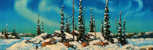 "SOLD ""Outcrop, Northwest Territories"" by Rod Charlesworth 8 x 24 - oil $1570 Unframed"