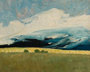 "SOLD ""Passing Harvest Storm"" by Steve Coffey 8 x 10 - oil $740 Unframed"