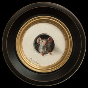 "SOLD ""Petite souris 302"" (Little Mouse 302) by Marina Dieul 4"" diameter plus frame (shown) – oil USD $900 Framed (approx CAD $1170 Framed)"