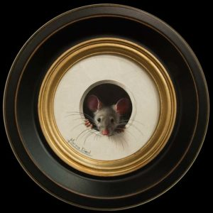 """Petite souris 305"" (Little Mouse 305) by Marina Dieul 4"" diameter plus frame (shown) – oil USD $900 Framed (approx CAD $1170 Framed)"