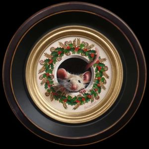 "SOLD ""Petite souris 307"" by Marina Dieul 4"" diameter plus frame (shown) – oil USD $900 Framed (approx CAD $1170 Framed)"