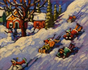 "SOLD ""Slipping and Sliding"" by Rod Charlesworth 8 x 10 - oil $750 Unframed"