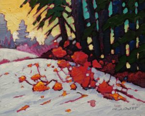 "SOLD ""Snow Came Early"" by Nicholas Bott 8 x 10 - oil $1090 Unframed"