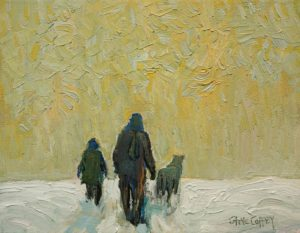 "SOLD ""Snow Walk"" by Steve Coffey 7 x 9 – oil $660 Unframed"
