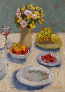 "SOLD ""Table Still Life"" by Paul Healey 5 x 7 - oil $275 Unframed"