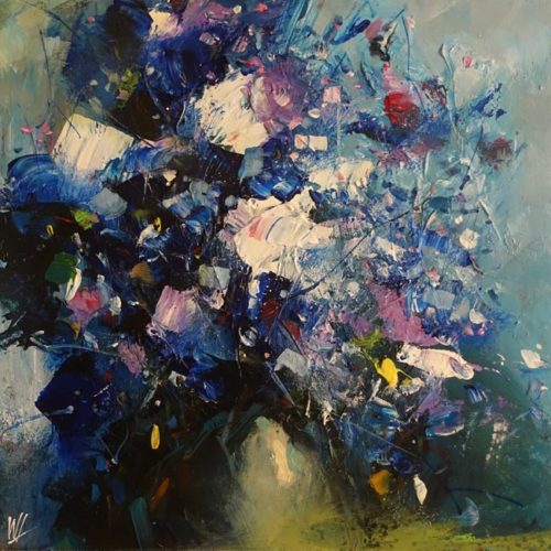 """Timeless Blue"" by William Liao 10 x 10 - acrylic $495 (unframed panel with 1 1/2"" edges)"