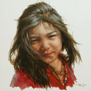 "SOLD ""Turning Her Attention,"" by Donna Zhang 30 x 30 - oil $6100 Unframed"