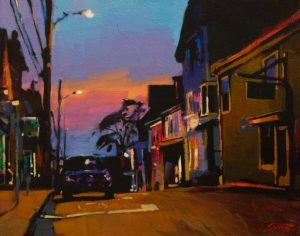 "SOLD ""Twilight in Lunenburg"" by Mike Svob 11 x 14 - acrylic $1195 Unframed"