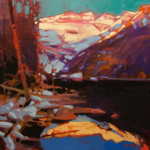 """A Warm Reflection (Lake Louise, Alta.)"" by Mike Svob 12 x 12 - acrylic $1090 Unframed"