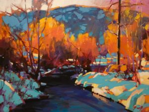 "SOLD ""A Warm Winter's Light"" by Mike Svob 12 x 16 - acrylic $1415 Unframed"