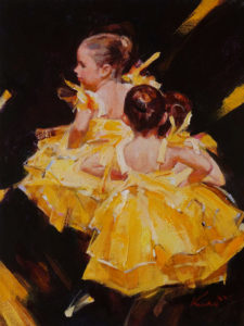 "SOLD ""We Love Dance"" by Clement Kwan 9 x 12 - oil $1650 Unframed"