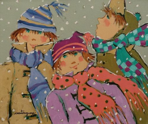 """We Love the Winter"" by Claudette Castonguay 10 x 12 - acrylic $390 Unframed"