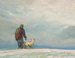 "SOLD ""Winter Dog Walk"" by Steve Coffey 8 x 10 - oil $740 Unframed"