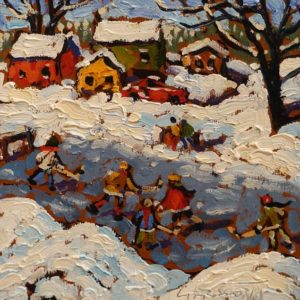 "SOLD ""Winter Fun"" by Rod Charlesworth 6 x 6 – oil $475 Unframed"