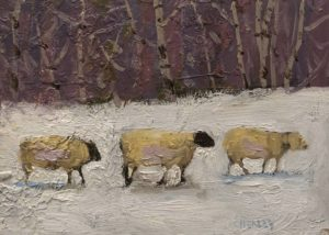 "SOLD ""Wool in the Snow"" by Paul Healey 5 x 7 - oil $275 Unframed"