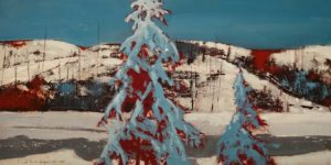 "SOLD ""Hills at Cobalt,"" by David Lidbetter 6 x 12 – oil $850 (cradled panel)"