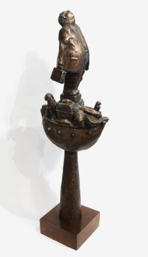 """Life Without the Ferryman,"" by Michael Hermesh 32 (H) x 11 (L) x 6 1/2 (W) - bronze No. 2 of edition of 15 $8000"