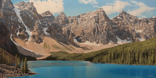 """Moraine Lake,"" by Ron Parker 30 x 60 - oil $9800 Unframed"
