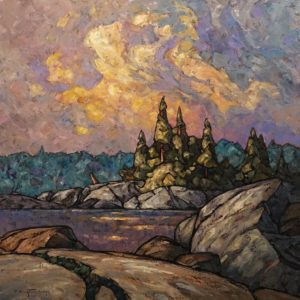 "SOLD ""Red Lake Shoreline,"" by Phil Buytendorp 24 x 24 - oil $2020 Unframed"