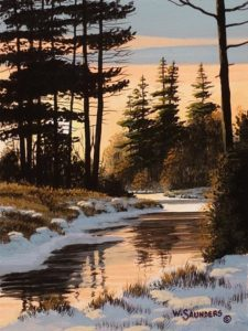 "SOLD ""Winter Sun,"" by Bill Saunders 6 x 8 - acrylic $500 Unframed"