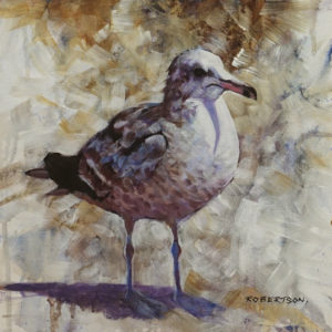 """Speckled Gull I,"" by Janice Robertson 12 x 12 - acrylic $730 (thick canvas wrap)"