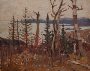 """""""Fall, Lake Superior"""" (1922) by A.Y. Jackson 8 1/4 x 10 1/2 - oil on panel"""