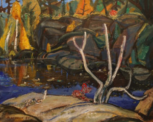 "SOLD ""Dark Pool, Georgian Bay"" (1953) by Arthur Lismer 16 x 20 - oil on panel"