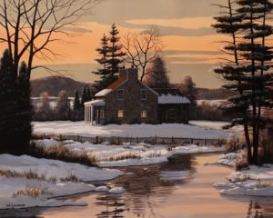 """Fieldstone Farmhouse,"" by Bill Saunders 16 x 20 - acrylic $2380 Unframed"