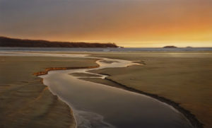 "SOLD ""Receding Tide at Dusk"" by Ray Ward 30 x 48 – oil $5900 (thick canvas wrap)"