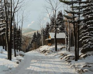 """Winter Cabin,"" by Bill Saunders 20 x 24 - acrylic $3400 Unframed"