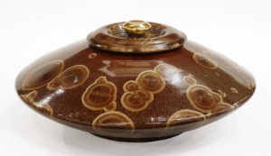 "Lidded vessel (BB-3588) by Bill Boyd crystalline-glaze ceramic - 6 1/2"" (H) x 15"" (W) $1250"