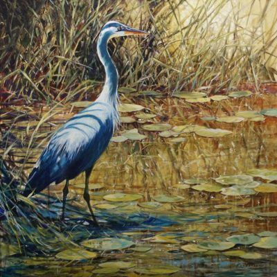 """""""Great Blue,"""" by Janice Robertson 36 x 36 - acrylic $4150 (thick canvas wrap)"""