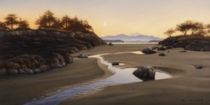 "SOLD ""Last Light, West Coast,"" by Ray Ward 6 x 12 – oil $850 Unframed"