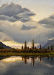 "SOLD ""Northern Pond"" by Ray Ward 5 x 7 – oil $575 Unframed"