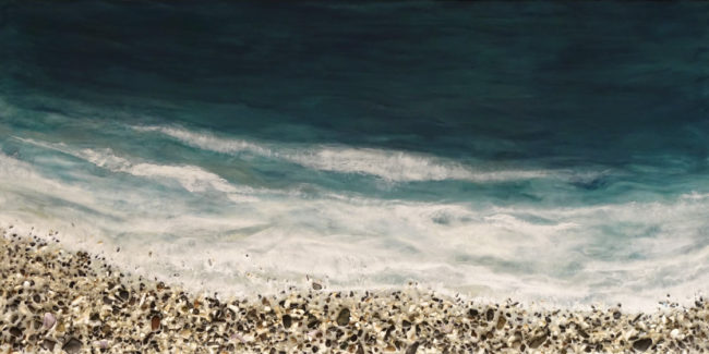 """West Coast No. 358,"" by Brenda Walker 24 x 48 - encaustic and mixed media $2900 (cradled panel)"