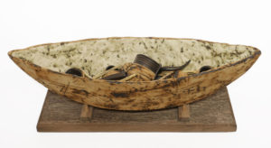 """Boat and Cargo with stand (LR-267) by Laurie Rolland hand-built ceramic - 17"""" L) x 6"""" (H) $550"""