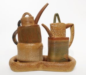 "Teapots with tray (LR-272) by Laurie Rolland hand-built ceramic - 11"" (H) x 11"" (L) $525"