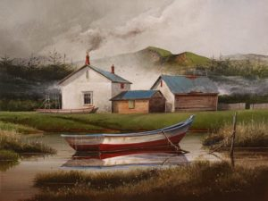 "SOLD ""The Boat Builder Place,"" by Mark Fletcher 18 x 24 - acrylic $1900 Unframed"