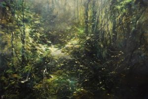 "SOLD ""Deep Forest No. 5,"" by William Liao 24 x 36 - acrylic $2650 (thick canvas wrap)"