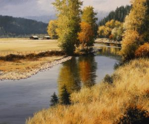 "SOLD ""Kettle River"" by Merv Brandel 20 x 24 – oil $2995 Unframed"