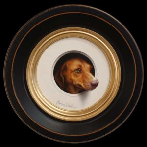 "SOLD ""Mini-chien 2"" (Mini-dog 2) by Marina Dieul 4"" diameter plus frame (shown) - oil USD $900 Framed (approx CAD $1180 Framed)"