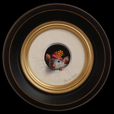 "SOLD ""Petit Souris 344"" (Little Mouse 344) by Marina Dieul 4"" diameter plus frame (shown) USD $900 Framed (approx CAD $1180 Framed)"